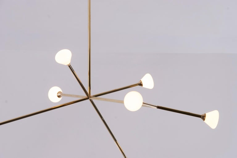 American Super Nova Chandelier, Contemporary Branching Brass Modern LED Light Fixture For Sale