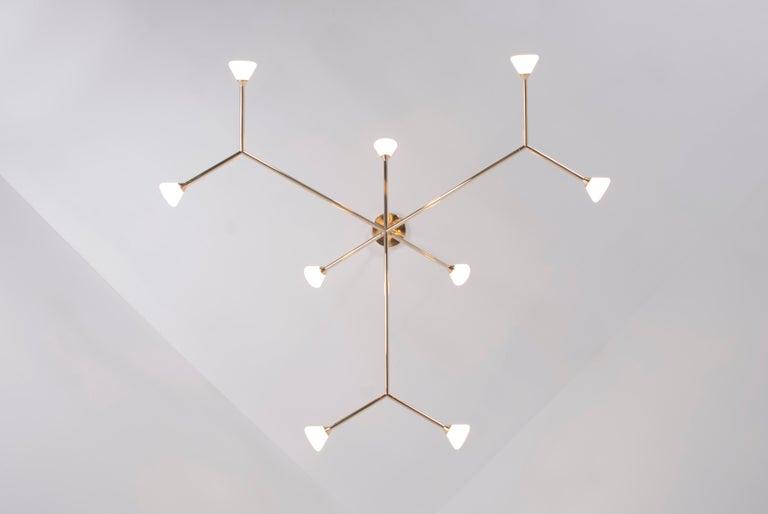 Super Nova Chandelier, Contemporary Branching Brass Modern LED Light Fixture For Sale 1
