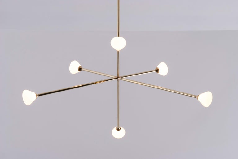 Nova Chandelier, Contemporary Branching Brass Modern LED Light Fixture In New Condition For Sale In Chicago, IL