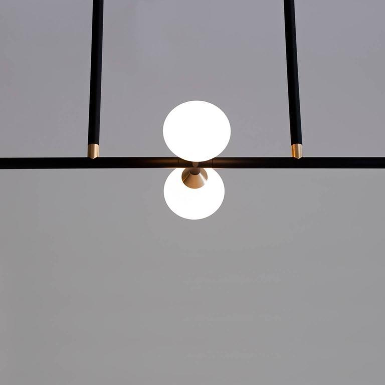 American Apollo Four Chandelier - Contemporary Matte Black Linear LED Light Fixture For Sale