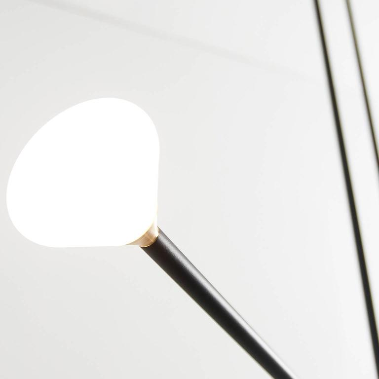 Brass Apollo Four Chandelier - Contemporary Matte Black Linear LED Light Fixture For Sale