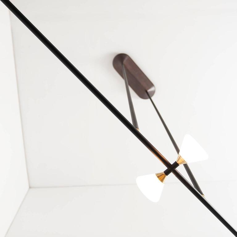 Apollo Four Chandelier - Contemporary Matte Black Linear LED Light Fixture For Sale 1