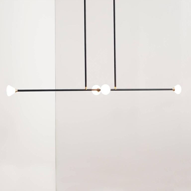 Apollo Four Chandelier - Contemporary Matte Black Linear LED Light Fixture For Sale 2
