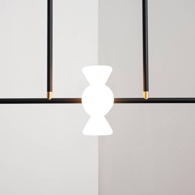 Apollo Six Chandelier - Contemporary Linear Matte Black LED Modern Light Fixture In New Condition For Sale In Chicago, IL