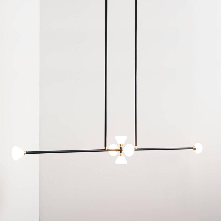 Apollo Six Chandelier - Contemporary Linear Matte Black LED Modern Light Fixture For Sale 2