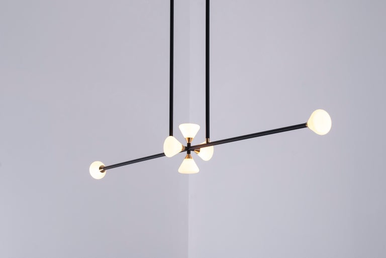 Brass Apollo Six Chandelier - Contemporary Linear Matte Black LED Modern Light Fixture For Sale