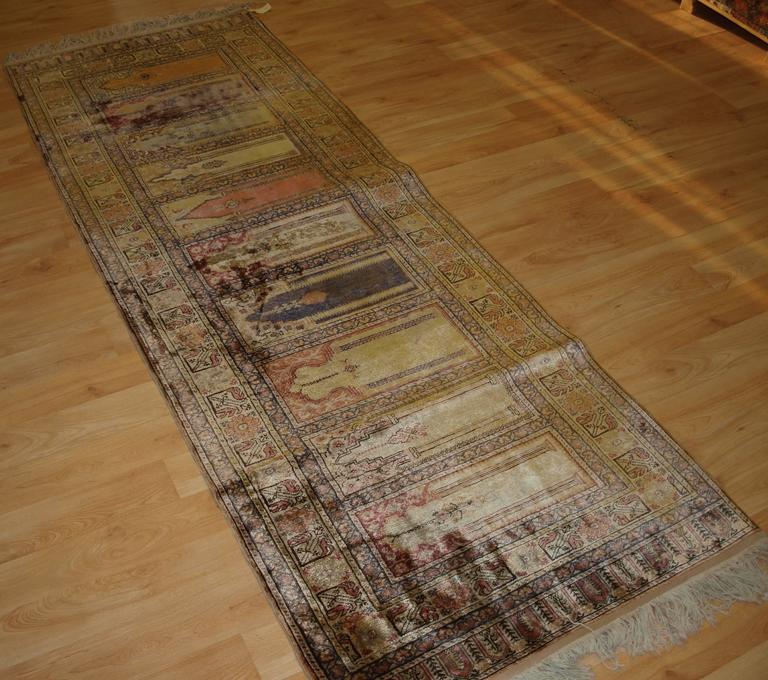 Antique Turkish Silk Rug: Antique Anatolian Kayseri 'Art Silk' Saf Prayer Rug In