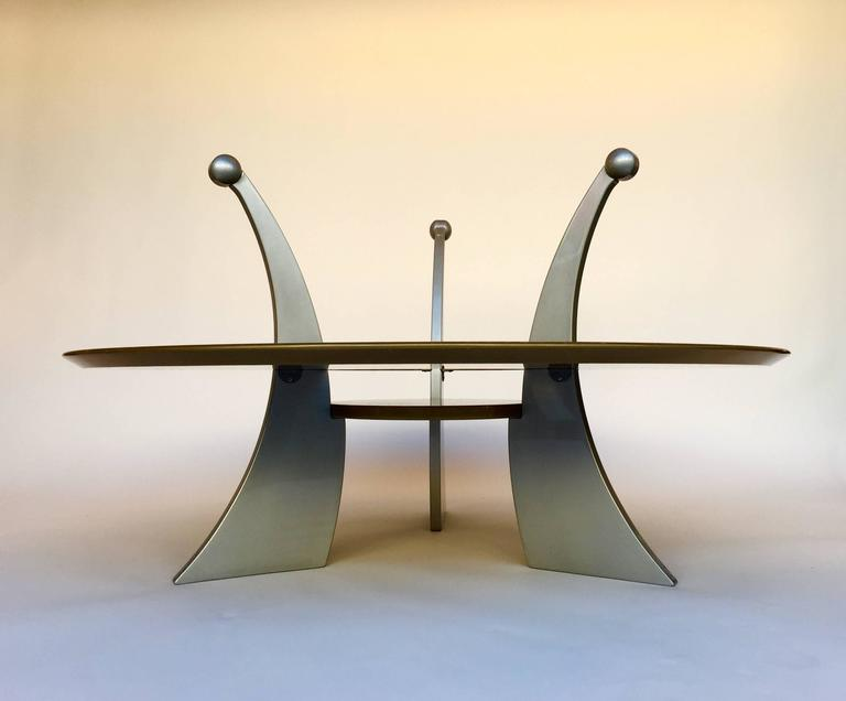 Coffee low or cocktail table orchid or orchidea by Massimo Morozzi. Mordore and silver metal lacquered. Very interesting sculptural model. Quite rare and few edition in the 1980s. An italian design, Massimo Morozzi is one of the founder of Archizoom