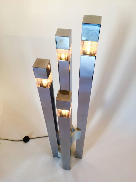 Mid-Century Modern Floor Lamp Cubic by Gaetano Sciolari, 1970s, Italy For Sale