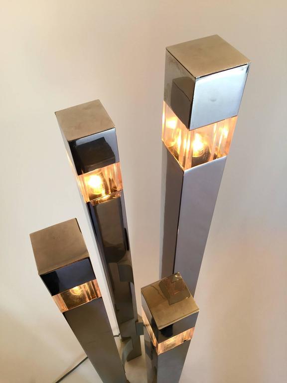 Floor Lamp Cubic by Gaetano Sciolari, 1970s, Italy In Excellent Condition In SAINT-OUEN, FR