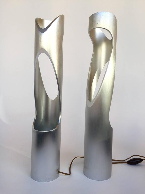Aluminum Pair of Lamps Sculpture, 1970s, Italy For Sale