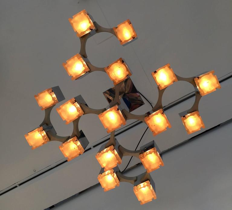 Space Age Chandelier Cubic by Sciolari. Italy, 1970s For Sale