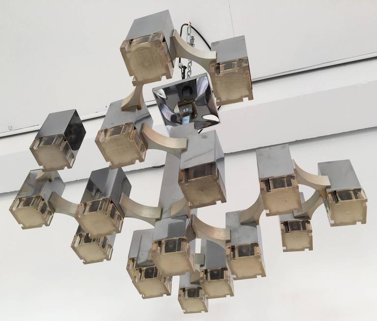 Late 20th Century Chandelier Cubic by Sciolari. Italy, 1970s For Sale