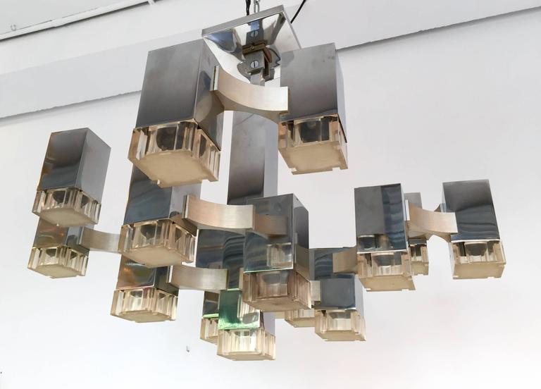 Metal Chandelier Cubic by Sciolari. Italy, 1970s For Sale