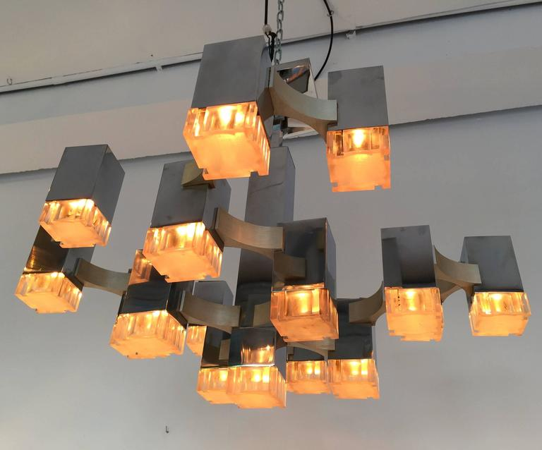 Chandelier Cubic by Sciolari. Italy, 1970s For Sale 2
