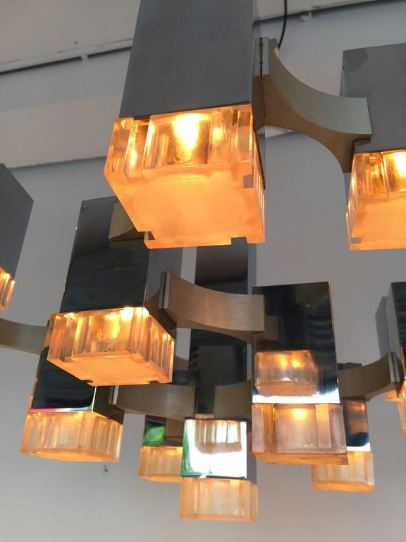 Chandelier Cubic by Sciolari. Italy, 1970s For Sale 3