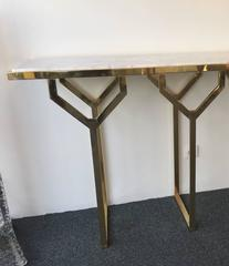 Console Y 2 Legs Brass and Marble. Italy. Contemporary