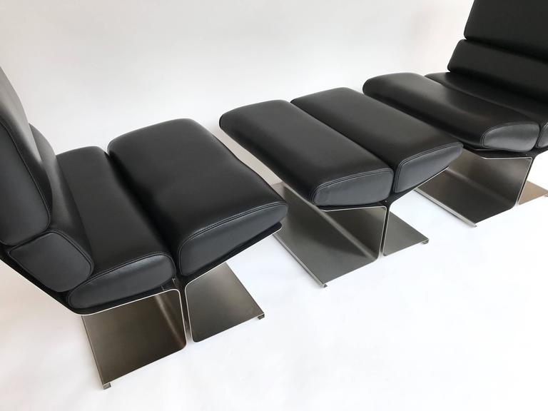 Late 20th Century Pair of Lounge Chairs and Ottoman by Paul Geoffroy for Uginox, France, 1970s For Sale