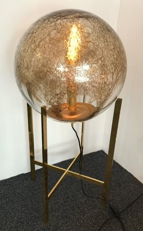 Space Age Brass Floor Lamps by La Murrina Murano Glass, Italy, 1990s For Sale