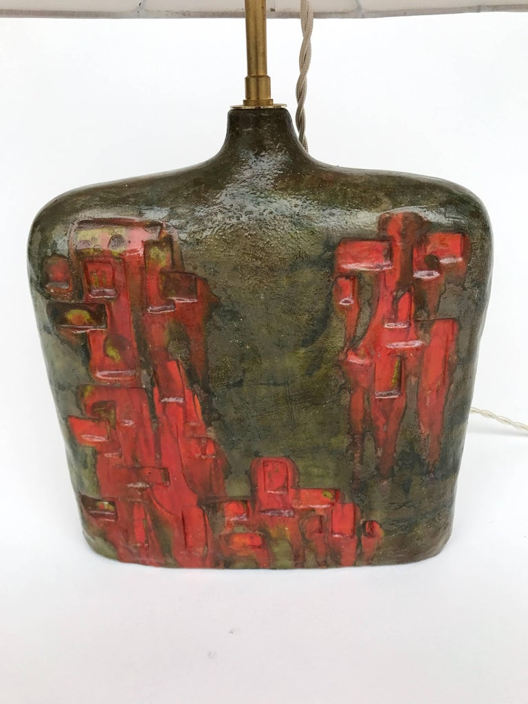 Italian Bottle Ceramic Lamp by Marcello Fantoni, Italy, 1970s For Sale