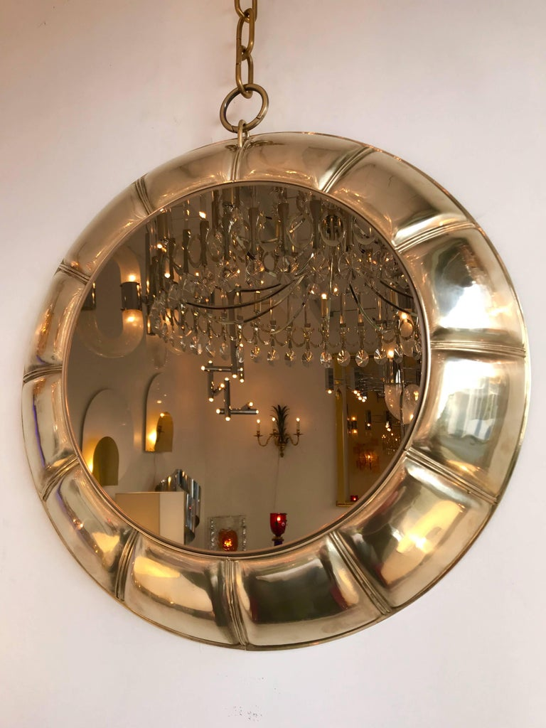 Contemporary Chain Brass Mirror, Italy In Excellent Condition For Sale In SAINT-OUEN, FR