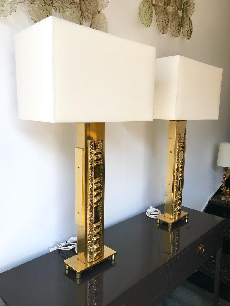 Pair of Brass Lamps by Luciano Frigerio. Italy, 1970s For Sale 2