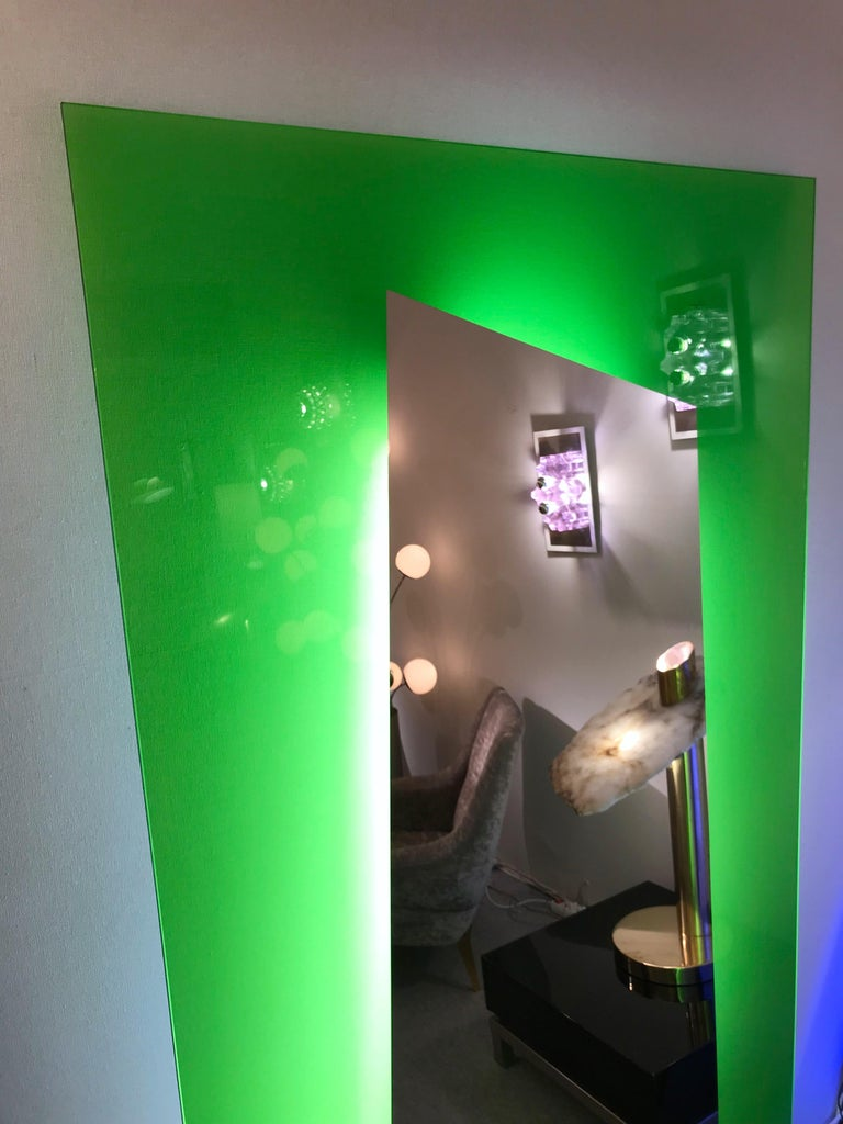 Large floor mirror full length or wall mirror in acid green tempered lightning glass by the designer Nanda Vigo for the manufacture Glass Italia. Produced in 2008, out of production today. Glass Italia is also the editor of Sottsass mirror. Can be