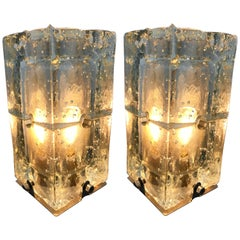 Pair of Glass Lamps by Poliarte, Italy, 1970s