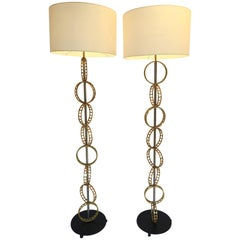 Contemporary Pair of Brass Circle Floor Lamp, France
