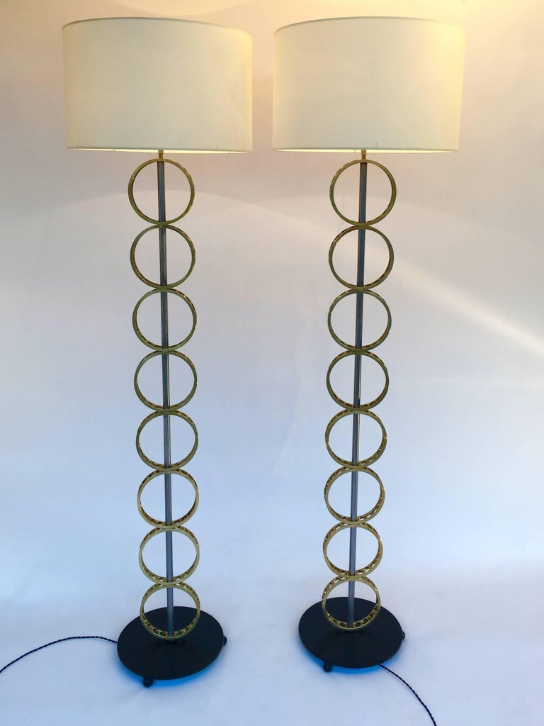 Industrial Contemporary Pair of Brass Circle Floor Lamp, France For Sale