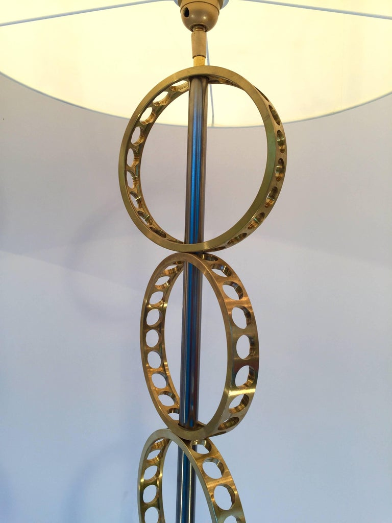 Contemporary Pair of Brass Circle Floor Lamp, France For Sale 3