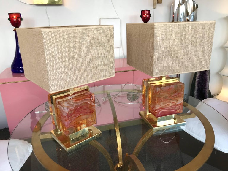 Contemporary Pair of Lamps Brass Cage Murano Glass Cube, Italy In New Condition For Sale In SAINT-OUEN, FR