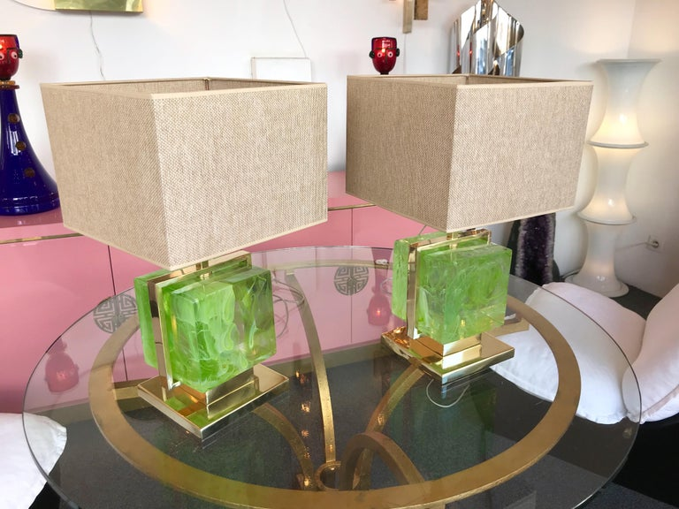 Contemporary Pair of Lamps Brass Cage Murano Glass Cube, Italy For Sale 5