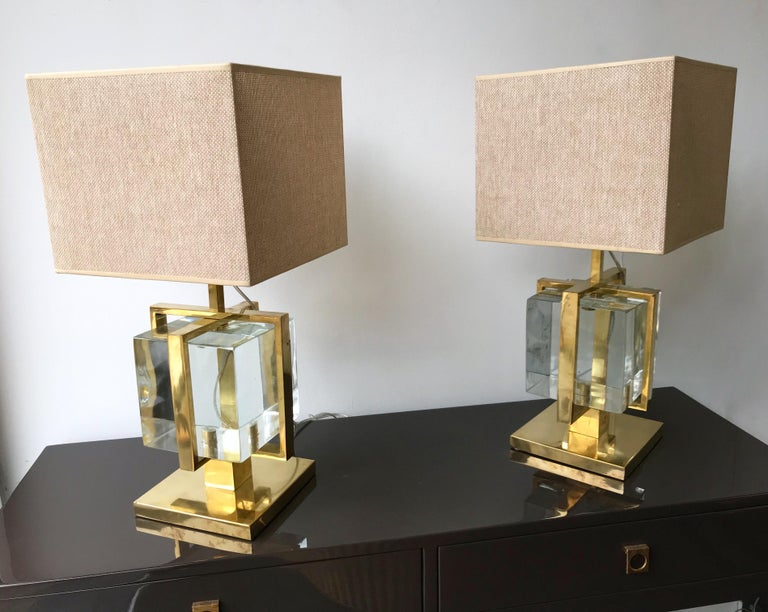 Contemporary Pair of Lamps Brass Cage Murano Glass Cube, Italy For Sale 4