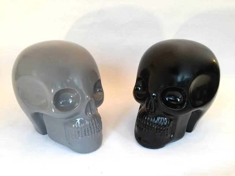 Stool Skull in Grey Ceramic by Antonio Cagianelli, Contemporary For Sale 5