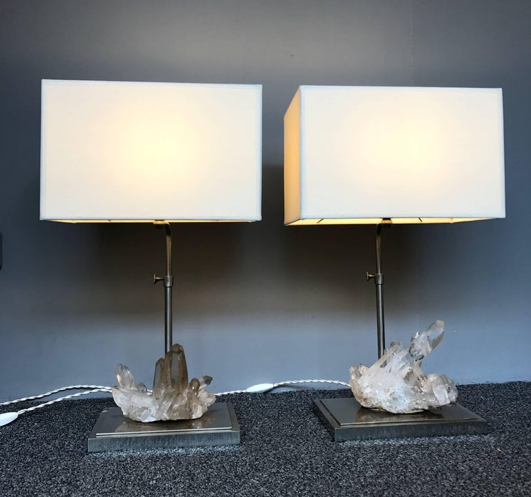 French Pair of Rock Crystal Quartz Lamps, France, 1970s For Sale
