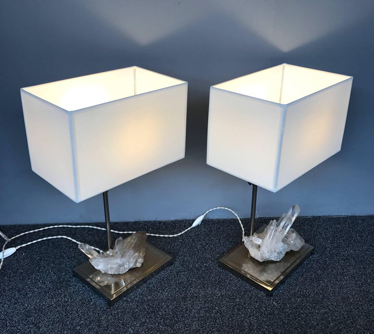 Late 20th Century Pair of Rock Crystal Quartz Lamps, France, 1970s For Sale