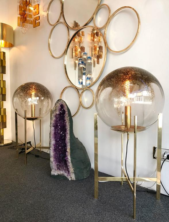 Brass Floor Lamps by La Murrina Murano Glass, Italy, 1990s In Excellent Condition For Sale In SAINT-OUEN, FR
