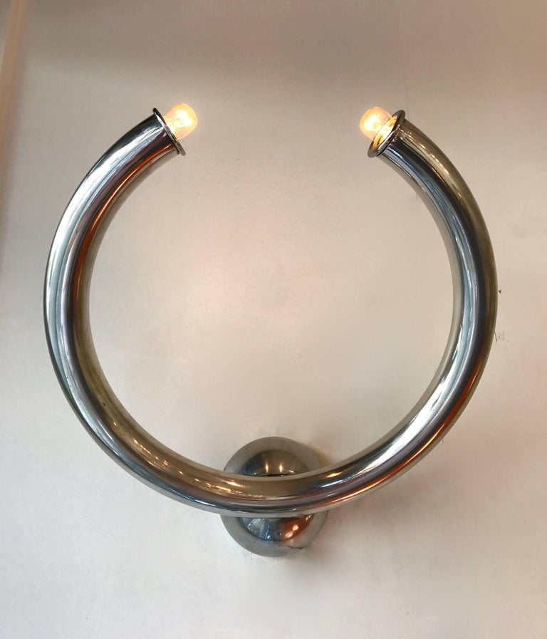 Polished Pair of Sconces by Reggiani, Italy, 1970s For Sale