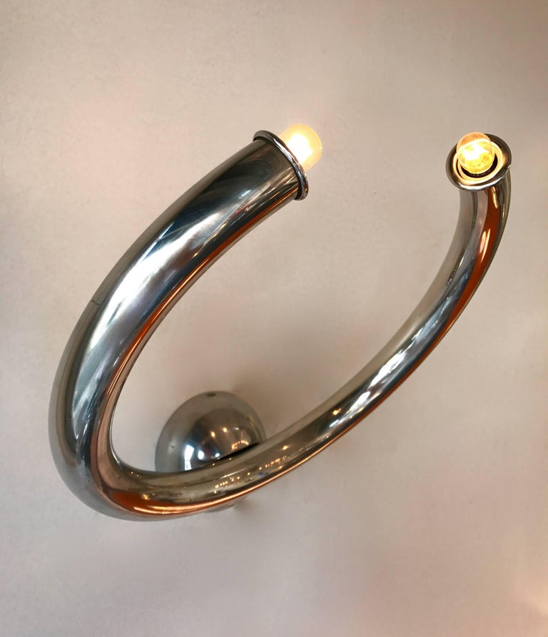 Metal Pair of Sconces by Reggiani, Italy, 1970s For Sale