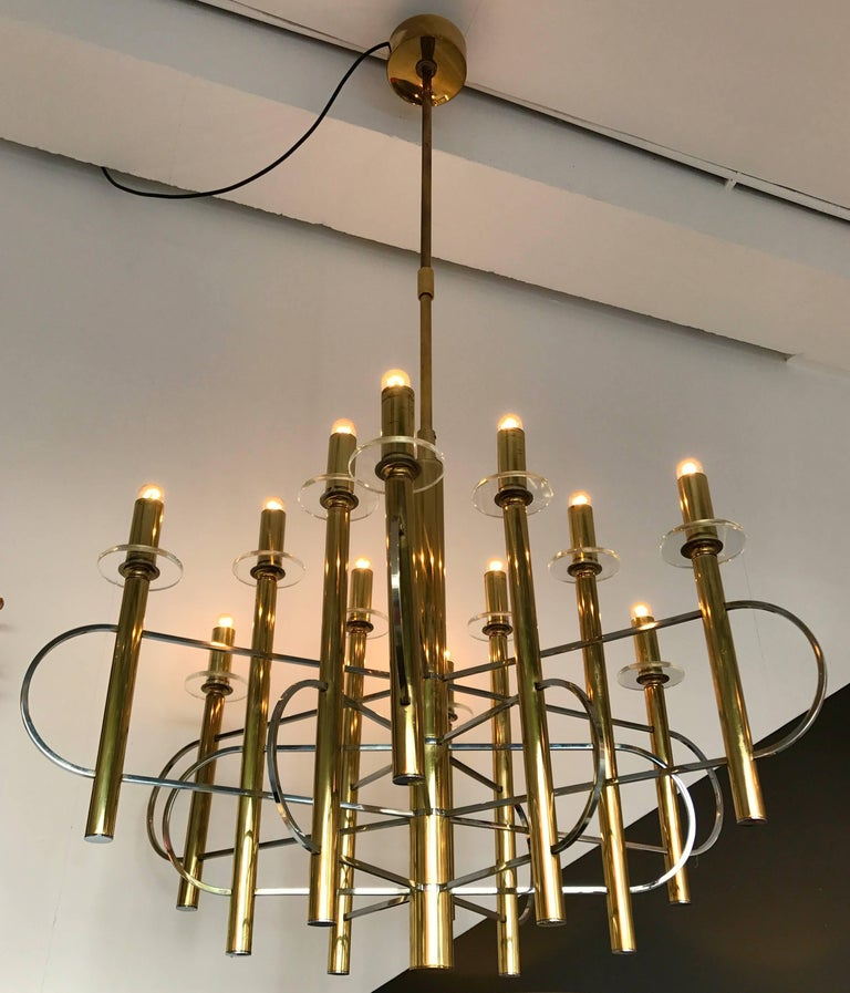 Space Age Chandelier by Sciolari, Italy, 1970s For Sale