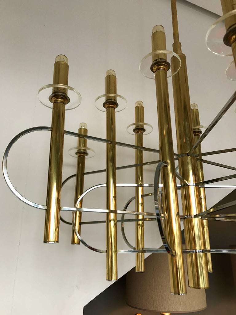 Brass Chandelier by Sciolari, Italy, 1970s For Sale