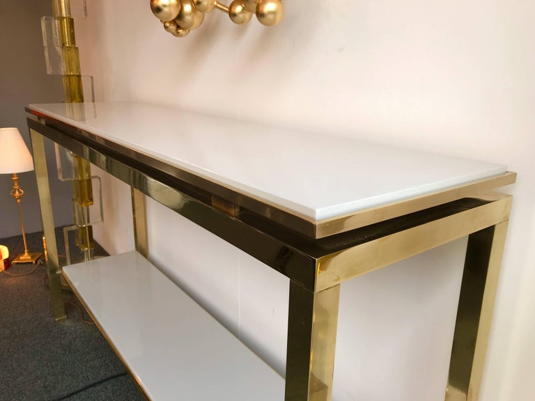 Brass Console Table Lacquered by Guy Lefevre for Maison Jansen, France, 1970s For Sale 1