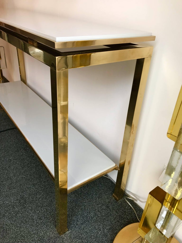 Brass Console Table Lacquered by Guy Lefevre for Maison Jansen, France, 1970s In Excellent Condition For Sale In SAINT-OUEN, FR