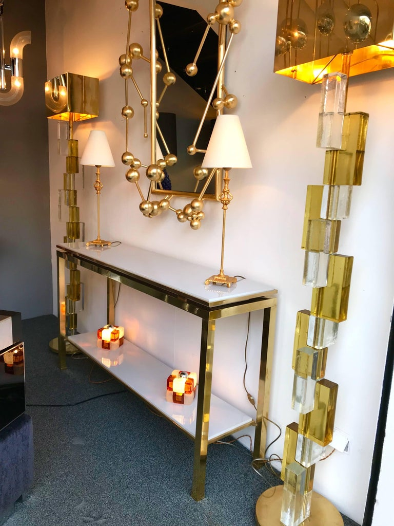 Late 20th Century Brass Console Table Lacquered by Guy Lefevre for Maison Jansen, France, 1970s For Sale