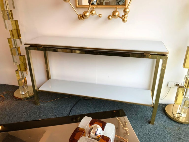 Brass Console Table Lacquered by Guy Lefevre for Maison Jansen, France, 1970s For Sale 2