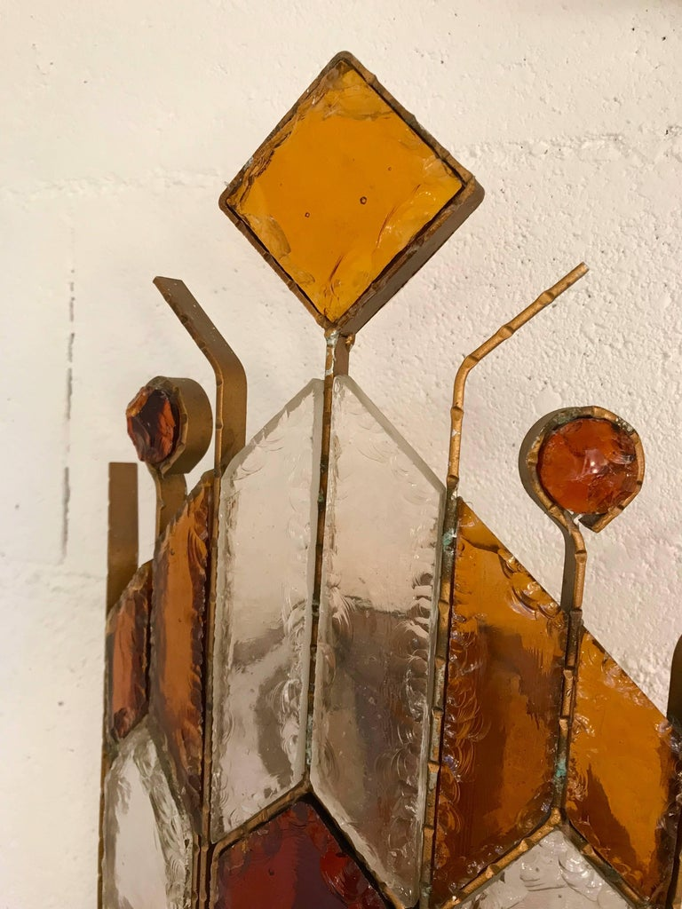 Pair of Sconces Hammered Glass by Longobard. Italy, 1970s In Excellent Condition For Sale In SAINT-OUEN, FR