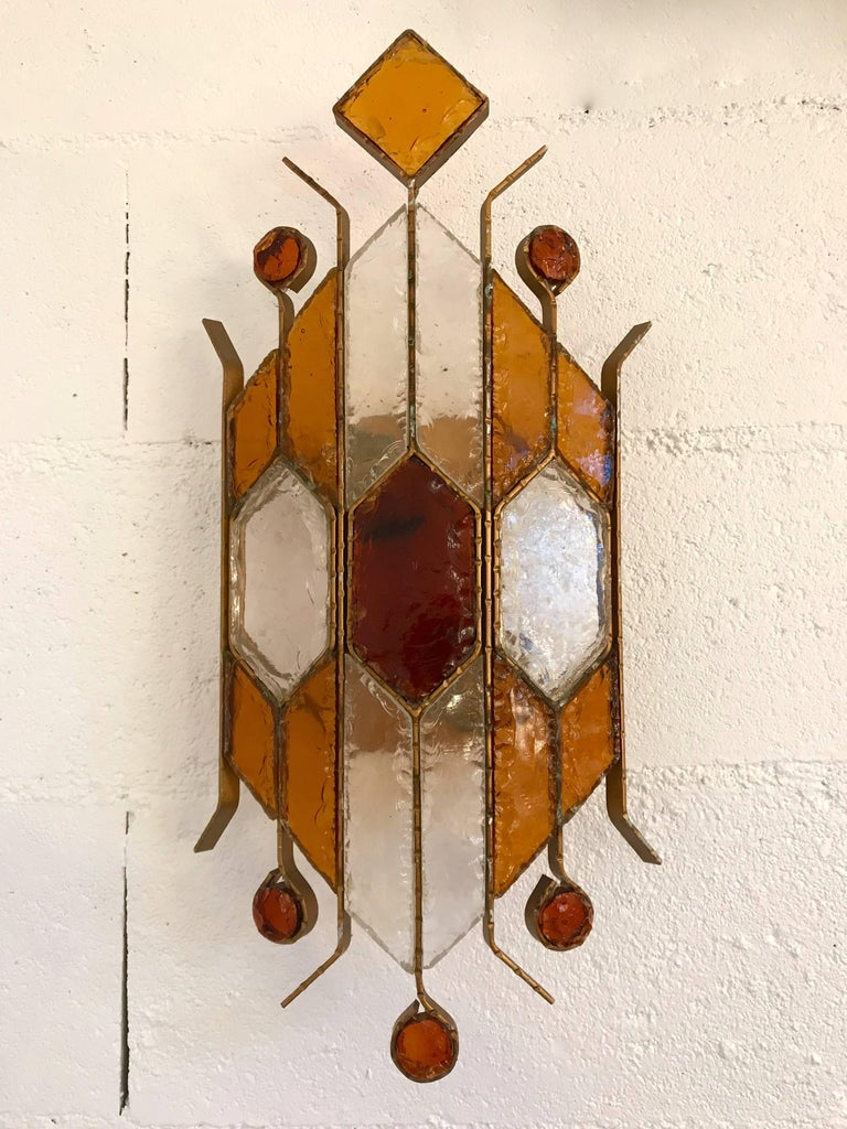 Italian Pair of Sconces Hammered Glass by Longobard. Italy, 1970s For Sale