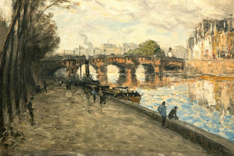 The Seine river banks in Paris near Saint Louis island with boats and people walking around. Oil on canvas with original frame.  Born in Spingfield, Ohio he was in love with Paris. His subjects are focused on the Seine river. His paintings can be