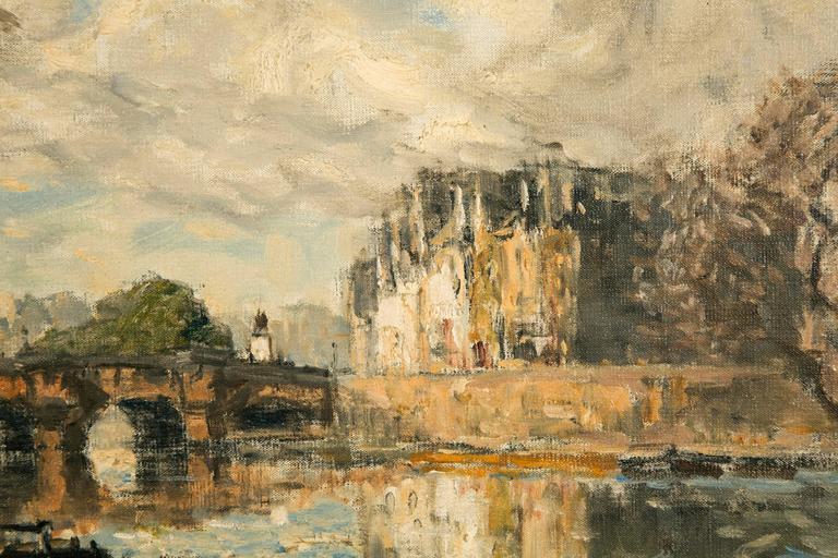 French Frank Boggs, Oil on Canvas, Les Quais de la Seine à Paris For Sale